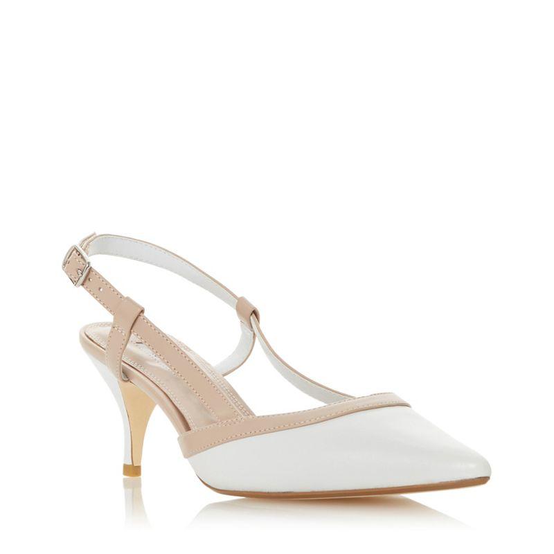Dune - White Leather Corraly Stiletto Heel Slingbacks