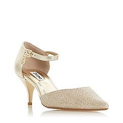 Dune - Gold leather 'Celleste' kitten heel court shoes