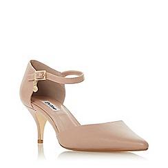 Dune - Cappuccino leather 'Celleste' kitten heel court shoes
