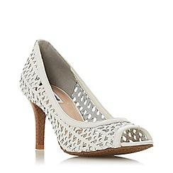 Dune - White Leather 'Cruise' Mid Stiletto Heel Court Shoes