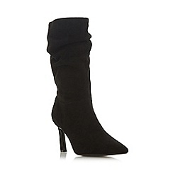 Dune - Black leather 'Ramira' mid stiletto heel calf boots