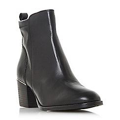 Dune - Black leather 'Penndra' mid block heel ankle boots