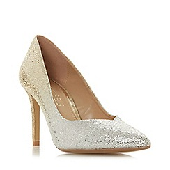 Head Over Heels by Dune - Gold glitter 'Amalia' mid stiletto heel court shoes
