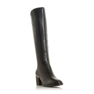Dune   Black Leather 'trinney' Mid Block Heel Shoe Boots by Dune