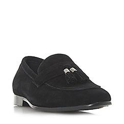 Dune - Black 'Amazingly' woven vamp slip on saddle loafers