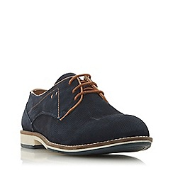 Dune - Navy 'H bhajan' stitch detail gibson shoes