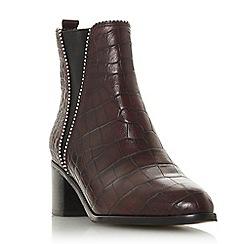 Dune - Burgundy leather 'Portobello' block heel ankle boots