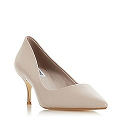Dune - Natural 'Astal' leather mid kitten heel court shoes