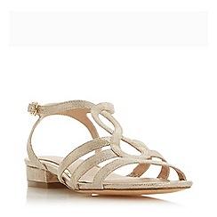 Head Over Heels by Dune - Gold 'Juney' Block Heel Ankle Strap Sandals