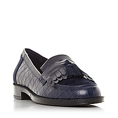 Dune - Navy leather 'Greatly' block heel loafers