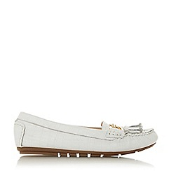 Dune - White Leather 'Geena' Loafers