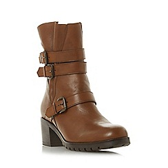 Dune - Tan leather 'Reuben' mid block heel ankle boots