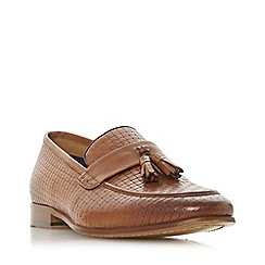 Dune - Tan 'Summit' woven saddle tassel loafers