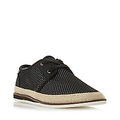 Dune - Black 'Fantastic' Perforated Lace Up Canvas Shoes