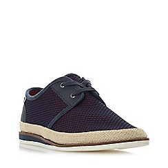 Dune - Navy 'Fantastic' Perforated Lace Up Canvas Shoes
