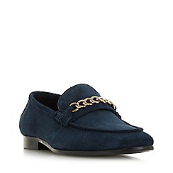 Dune - Navy 'Stallion' chain trim loafers shoes