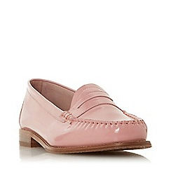 Dune - Pink Leather 'Glossy' Block Heel Loafers