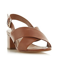 Dune - Tan Leather 'Indey' Mid Block Heel Ankle Strap Sandals