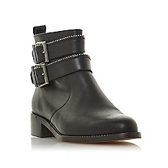 Dune - Black leather 'Pabblo' block heel ankle boots