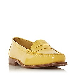 7513a777cde Dune - Yellow Leather  Glossy  Block Heel Loafers