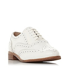 Dune - White leather 'Frenchie' block heel brogues