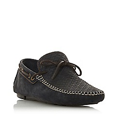 Bertie - Navy 'Barbican1' leather woven driver loafer