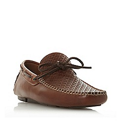 Bertie - Tan 'Barbican1' leather woven driver loafer