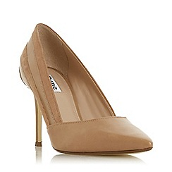 Dune - Cappuccino Leather 'Barrelle' High Stiletto Heel Court Shoes