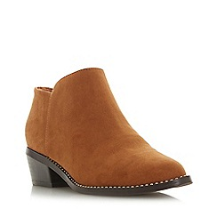 Head Over Heels by Dune - Tan 'Pinnie' Mid Block Heel Ankle Boots