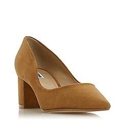 Dune - Camel suede 'Arvemarie' block heel court shoes