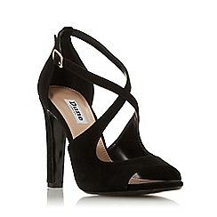Dune - Black Suede 'Mistey' High Block Heel Ankle Strap Sandals