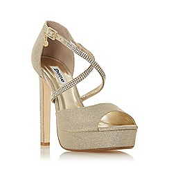 Dune - Gold 'Mickah' High Platform Peep Toe Shoes