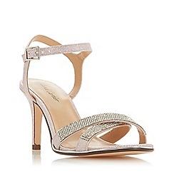 Roland Cartier - Pink Glitter 'Marama' Mid Stiletto Heel Ankle Strap Sandals