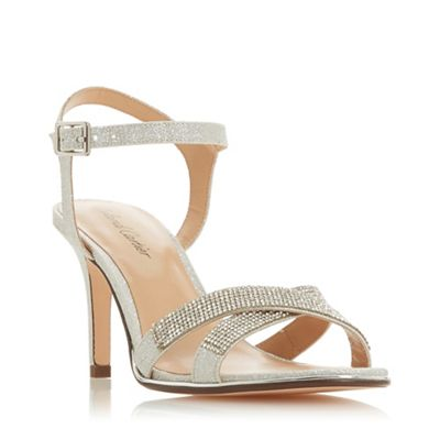 cac19fcf9a6 Roland Cartier Silver Glitter  Marama  Mid Stiletto Heel Ankle Strap Sandals