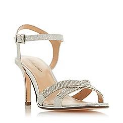 Roland Cartier - Silver Glitter 'Marama' Mid Stiletto Heel Ankle Strap Sandals