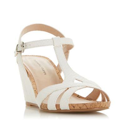 044187950c6 Roberto Vianni White  Kristyne  High Wedge Heel T-Bar Sandals ...