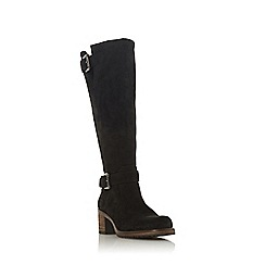 Dune - Black suede 'Tansey' mid block heel knee high boots