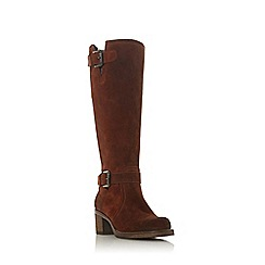 Dune - Brown suede 'Tansey' mid block heel knee high boots