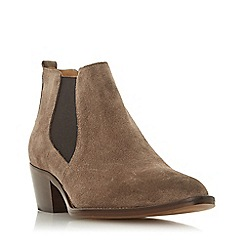 Dune - Taupe suede 'Perbeck' mid block heel ankle boots