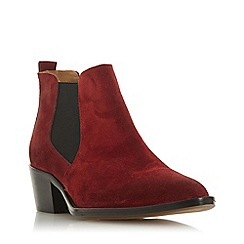 Dune - Red suede 'Perbeck' mid block heel ankle boots
