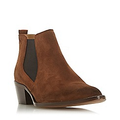 Dune - Brown suede 'Perbeck' mid block heel ankle boots