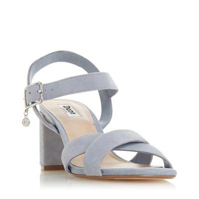f24ea69afe0 Dune - Blue Suede  Megz  Mid Block Heel Ankle Strap Sandals