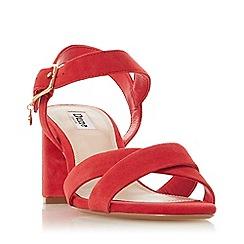 Dune - Red Suede 'Megz' Mid Block Heel Sandals