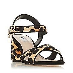 Dune - Leopard Leather 'Megz' Mid Block Heel Ankle Strap Sandals