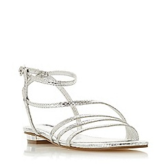 Dune - Silver 'Nissey' Ankle Strap Sandals