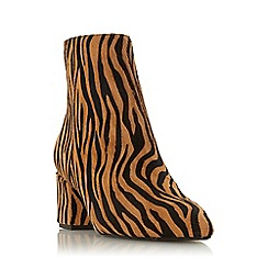 Dune - Tiger Leather 'Omarii' Mid Block Heel Ankle Boots