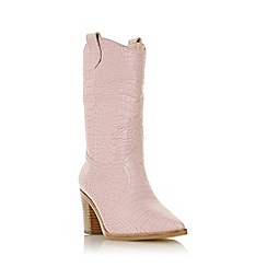 Dune - Pink Leather 'Priotry' Mid Block Heel Calf Boots