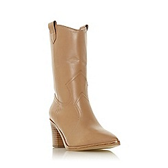 Dune - Camel Leather 'Priotry' Mid Block Heel Calf Boots