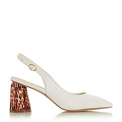 Head Over Heels by Dune - White 'Canyen' Mid Block Heel Court Shoes