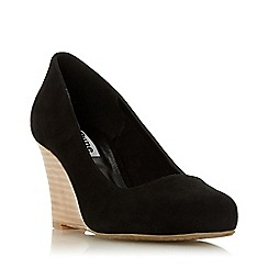 Dune - Black Suede 'Wf Allixe 2' High Wedge Heel Wide Fit Court Shoes